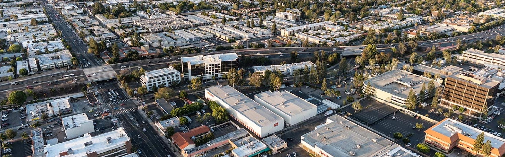 Aerial Photo of the San Fernando Valley With Lots of Commercial Buildings